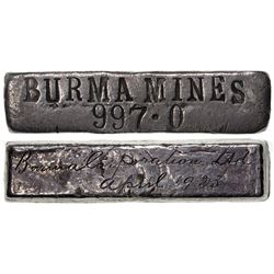BURMA: AR ingot (129.89g), silver, BURMA MINES, April 1923, English cursive script and date, VF