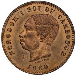 CAMBODIA: Norodom I, 1859-1904, AE 10 centimes, 1860-E. PCGS SP64