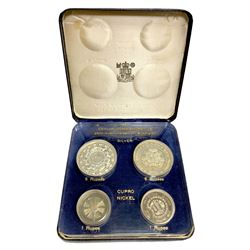 CEYLON: Dominion, 1948-1972, 4-coin proof set, 1957. PF