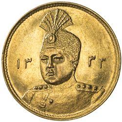 IRAN: Ahmad Shah, 1909-1925, AV toman (2.81g), AH1333. UNC