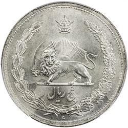 IRAN: Reza Shah, 1925-1941, AR 5 rial, SH1312. PCGS MS64