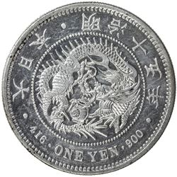 JAPAN: Meiji, 1868-1912, AR yen, year 15 (1882). AU