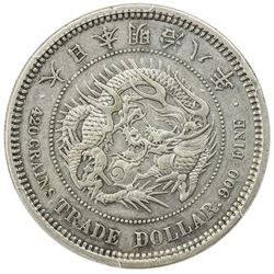JAPAN: Meiji, 1868-1912, AR trade dollar, year 8 (1875). PCGS EF