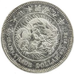 JAPAN: Meiji, 1868-1912, AR trade dollar, year 9 (1876). PCGS AU