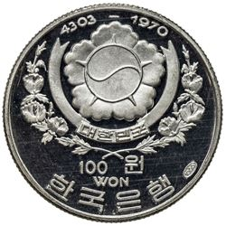 KOREA (SOUTH): Republic, AR 100 won, 1970. PF