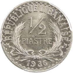 LEBANON: French Mandate, 1/2 piastre, 1936. PCGS MS67