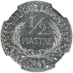 LEBANON: zinc 1/2 piastre, 1941. NGC MS63