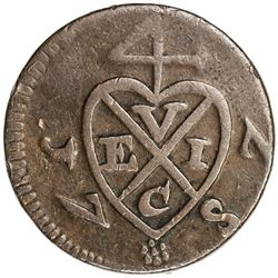 PENANG: AE cent (8.57g), 1787, KM-4, Prid-7, British East India Company issue, nearly VF