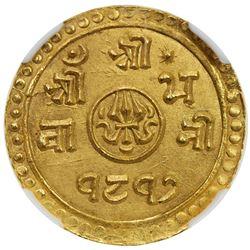 NEPAL: Prithvi Bir Bikram Shah, 1881-1911, AV 1/2 mohur, SE1817 (1895). NGC MS65
