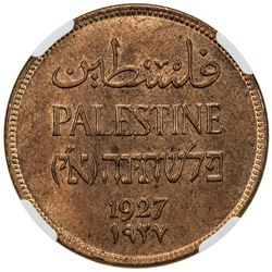 PALESTINE: AE 2 mils, 1927, KM-2, almost entirely red, very little brown, NGC graded MS65 RB