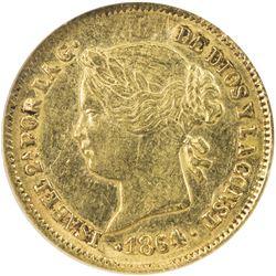 PHILIPPINES: Isabel II, 1833-1868, AV peso, 1864. NGC AU55