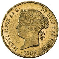 PHILIPPINES: Isabel II, 1833-1868, AV 4 pesos (6.73g), 1868. EF-AU