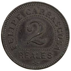 PHILIPPINES: AE 2 reales token, ND (ca late 1800's?). EF