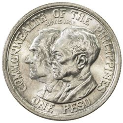 PHILIPPINES: AR peso, 1936, KM-177, Establishment of Commonwealth, Roosevelt and Quezon, choice UNC