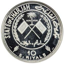 SHARJAH: Khalid Bin Muhammad al-Quasimi, 1965-1972, AR 10 riyals, 1970/AH1389. NGC PF66