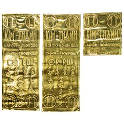 """VIET NAM: LOT of 3 Kim-Thanh Refinery Co. gold """"leaf-wafer"""", UNC"""
