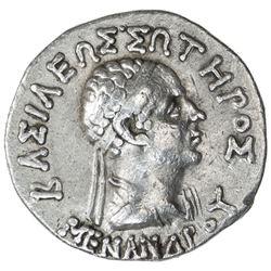 INDO-GREEK: Menander I, ca. BC 155-130, AR tetradrachm (9.73g). VF