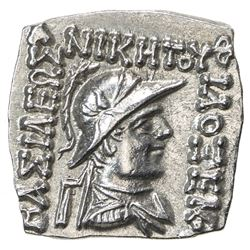 INDO-GREEK: Philoxenos, ca. 100-95 BC, AR square drachm (2.37g). EF