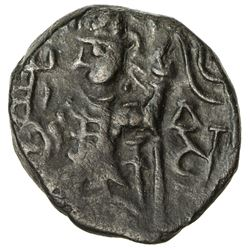 KUSHAN: Vasu Deva II, ca. 290-310, AE 1/2 unit (3.15g). VF