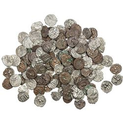 VIJAYANAGAR: LOT of 141 uninscribed silver ¼ tara coins