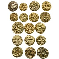SOUTH INDIA: LOT of 17 gold pagodas & half pagodas