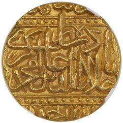 MUGHAL: Akbar I, 1556-1605, AV mohur, Ahmadabad, AH986. NGC MS64