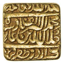 "MUGHAL: Akbar I, 1556-1605, AV mohur (11.94g), ""Urdu Zafar Qarin"", AH""1000"". VF"