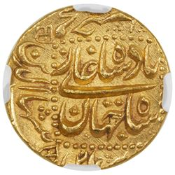 MUGHAL: Shah Jahan I, 1628-1658, AV mohur, Burhanpur, AH1063 year 26. NGC MS65
