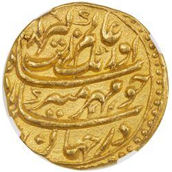MUGHAL: Aurangzeb, 1658-1707, AV mohur, Akbarabad, AH1081 year 14. NGC MS62