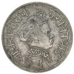 BARODA: Sayaji Rao III, 1875-1938, AR 1/2 rupee, VS1951. VF-EF