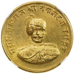 BIKANIR: Ganga Singh, 1887-1942, AV nazarana mohur, VS1994 (1937). NGC MS63
