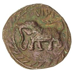 MYSORE: Tipu Sultan, 1782-1797, AE 1/2 paisa (5.56g), Farrukhyab-Hisar, AM1217. EF