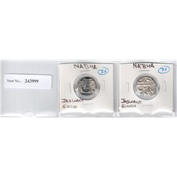 NABHA: Jaswant Singh, 1783-1840, LOT of 2 silver rupees, undated, type KM-20.3, SS-253, both VF