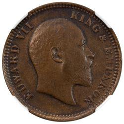 SAILANA: Edward VII, 1901-1910, AE 1/4 anna, 1908. NGC AU53