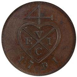 BOMBAY PRESIDENCY: AE 1/2 pice, [Soho mint], 1791. ANACS PF63