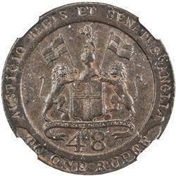 MADRAS PRESIDENCY: AE 1/48 rupee, 1794. NGC AU58