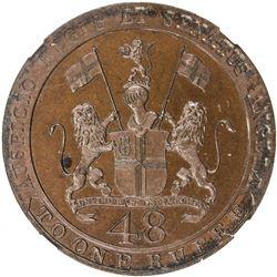 MADRAS PRESIDENCY: AE 1/48 rupee, 1797. NGC PF64