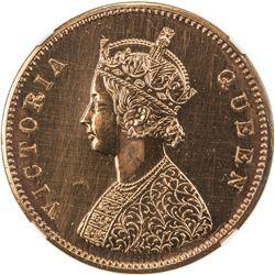 BRITISH INDIA: Victoria, Queen, 1837-1876, AE 1/2 anna, 1862(c). NGC PF64