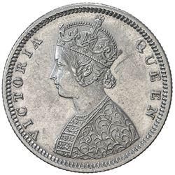 BRITISH INDIA: Victoria, Queen, 1837-1876, AR 1/2 rupee, 1875(b). EF