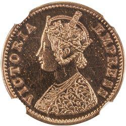 BRITISH INDIA: Victoria, Empress, 1876-1901, AE 1/12 anna, 1877(b). NGC PF64