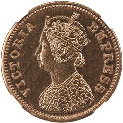 BRITISH INDIA: Victoria, Empress, 1876-1901, AE 1/2 pice, 1877(b). NGC PF64