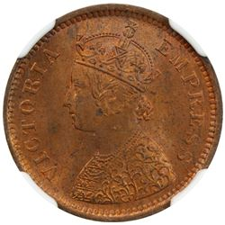 BRITISH INDIA: Victoria, Empress, 1876-1901, AE ½ pice, 1893(c), KM-484, NGC MS63 RB