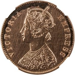 BRITISH INDIA: Victoria, Empress, 1876-1901, AE 1/4 anna, 1877(b). NGC PF62