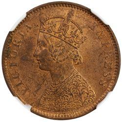 BRITISH INDIA: Victoria, Empress, 1876-1901, AE 1/4 anna, 1882-C. NGC MS63