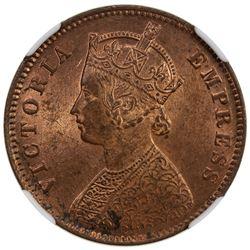 BRITISH INDIA: Victoria, Empress, 1876-1901, AE 1/4 anna, 1892(c). NGC MS64