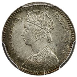 BRITISH INDIA: Victoria, empress, 1876-1901, AR 2 annas, 1892-C. PCGS MS64