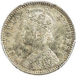 BRITISH INDIA: Victoria, Empress, 1876-1901, AR 1/4 rupee, 1889-B. PCGS MS63