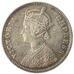 BRITISH INDIA: Victoria, Empress, 1876-1901, AR rupee, 1877(b). UNC