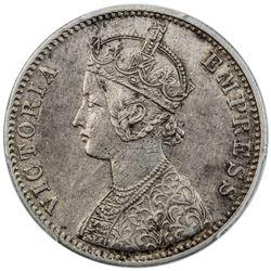 BRITISH INDIA: Victoria, Empress, 1876-1901, AR rupee, 1897-C. PCGS EF45