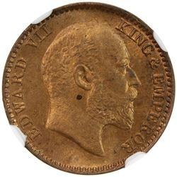 BRITISH INDIA: Edward VII, 1901-1910, AE 1/12 anna, 1909(c). NGC MS64